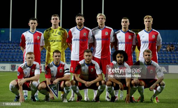 Linfield players pose for the team photo prior the UEFA Europa League third round qualifier match between Sutjeska Niksic and Linfield FC on August 6...