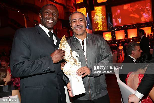 Linford Christie and Daley Thompson with Meissen Pegasos Award during the German Sports Media Ball at Alte Oper on November 7 2015 in Frankfurt am...