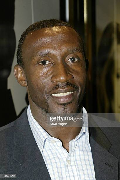 """Linford Christie attends the UK charity premiere of """"The Italian Job"""" at the Empire Leicester Square September 15, 2003 in London, England."""