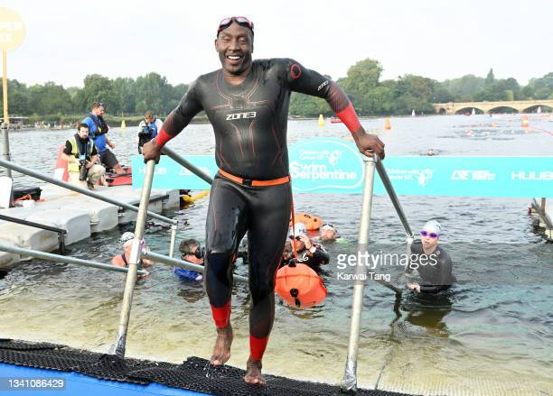 Linford Christie during the Children With Cancer UK Swim Serpentine in Hyde Park on September 18, 2021 in London, England.