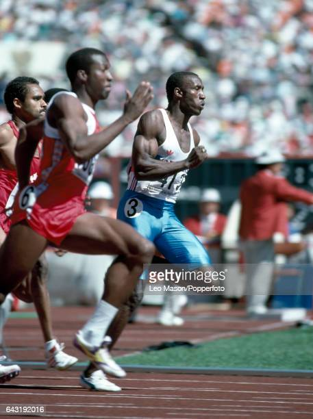 Linford Christie of Great Britain in action during a heat of the men's 200 metres event at the Summer Olympic Games in Seoul South Korea circa...
