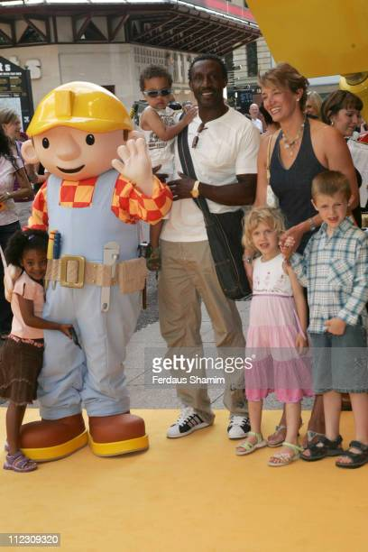 Linford Cristie and family during Bob the Builder Built to be Wild London Premiere at Odeon West End in London Great Britain
