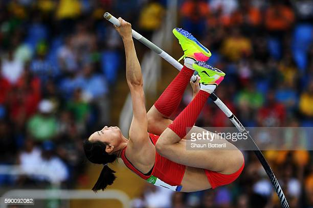 Ling Li of China competes during the Women's Pole Vault Qualifying Round Group B on Day 11 of the Rio 2016 Olympic Games at the Olympic Stadium on...