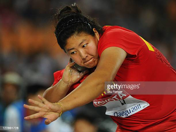 Ling Li of China competes during the women's shot put final during day three of the 13th IAAF World Athletics Championships at the Daegu Stadium on...