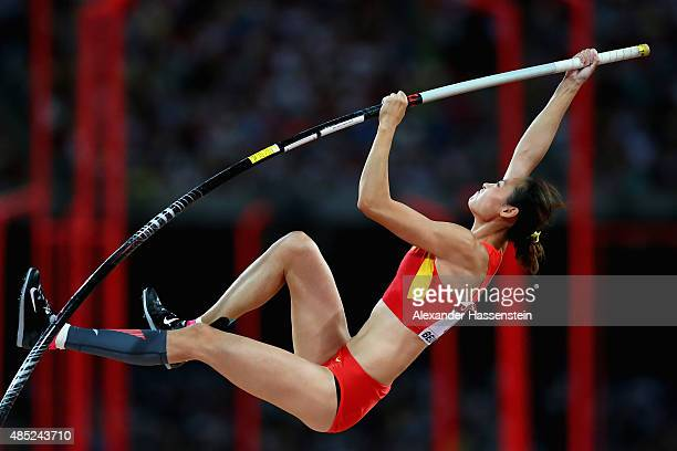 Ling Li of China competes in the Women's Pole Vault final during day five of the 15th IAAF World Athletics Championships Beijing 2015 at Beijing...