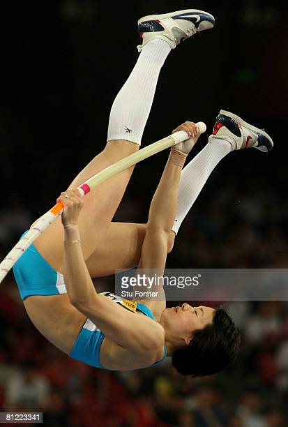 Ling Li of China competes in the Women's Pole Vault Final during day three of the Good Luck Beijing 2008 China Athletics Open at the National Stadium...