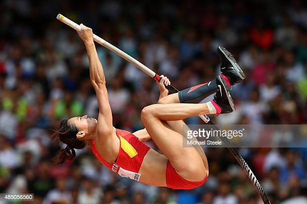 Ling Li of China competes in the Women's Pole Vault qualification during day three of the 15th IAAF World Athletics Championships Beijing 2015 at...