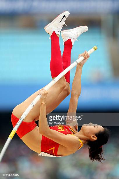 Ling Li of China competes in the women's pole vault qualification round during day two of the 13th IAAF World Athletics Championships at the Daegu...