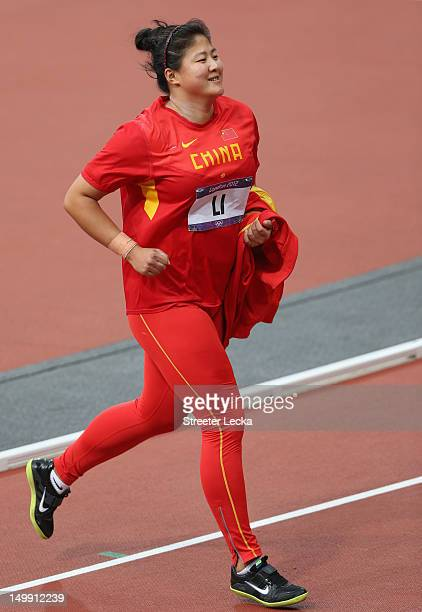 Ling Li of China reacts after a throw in the Women's Shot Put final on Day 10 of the London 2012 Olympic Games at the Olympic Stadium on August 6...