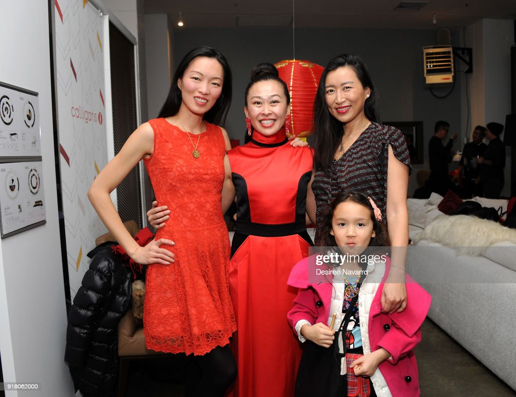Ling Tan, Niki Cheng and Sally Wu attend the 2018 Red & Gold Party at Calligaris SoHo on February 13, 2018 in New York City.