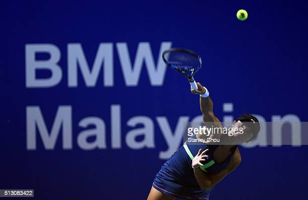 Ling Zhang of Hong Kong in action during round one of the 2016 BMW Malaysian Open at Kuala Lumpur Golf Country Club on February 29 2016 in Kuala...