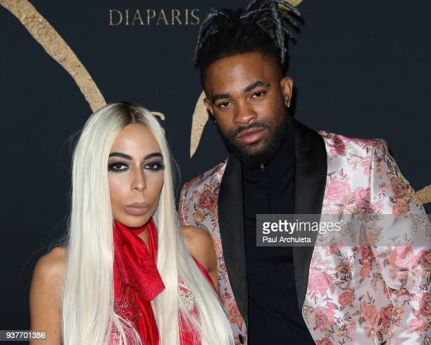 Lingerie Designer Kaila Methven and Elijah Blake attend the Madame Methven Masquerade at SkyBar at the Mondrian Los Angeles on March 24 2018 in West...
