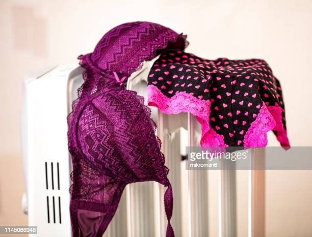 lingerie drying on electric heater convector at home. - wet knickers stock pictures, royalty-free photos & images
