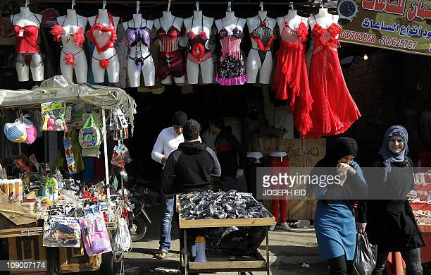 Lingerie for Valentine's Day is displayed outside a shop at a market in Beirut on February 11 2011 AFP PHOTO/JOSEPH EID