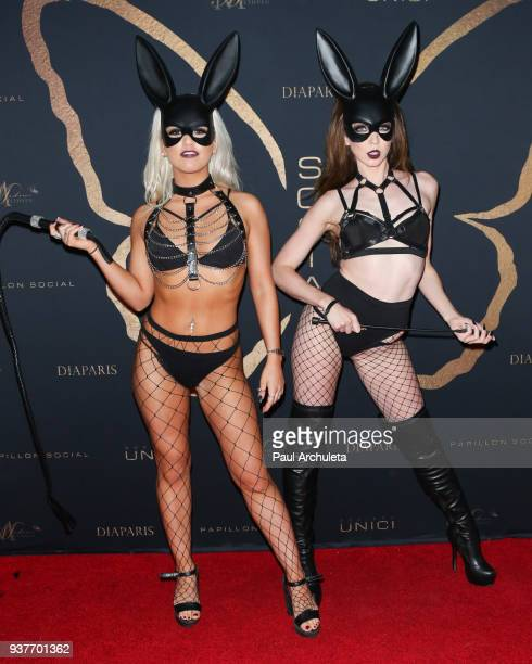 Lingerie Models in Kaila Methven designs attend the 'Madame Methven Masquerade' at SkyBar at the Mondrian Los Angeles on March 24 2018 in West...
