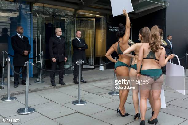 Lingerieclad models stage a protest by the animal rights organisation Peta against the suffering of animals on 17th Febriary 2017 in London England...