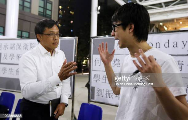 Lingnan's new council member, former President of Law Society Junius Ho Kwan-yiu with Lingnan University Students' Union Philip Lau Chun-lam at a...