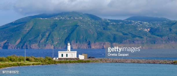 lingua lighthouse on salina, the second largest island in the aeolian islands (sicily, italy) - isola di salina sicilia foto e immagini stock