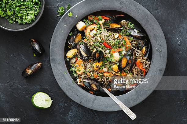 Linguine pasta with seafood and vegetables
