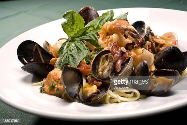 linguine pescatore seafood pasta - marinara stock photos and pictures