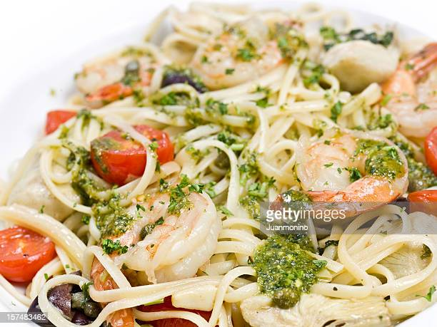 linguini a la siciliana - kalamata olive stock photos and pictures