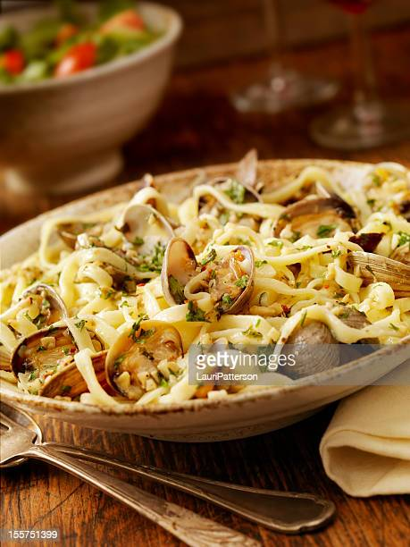 linguini and clams - clams stock photos and pictures