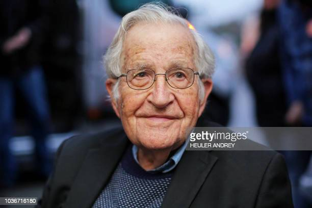 US linguist and political activist Noam Chomsky is pictured during a press conference after visiting former President Luiz Inacio Lula da Silva...