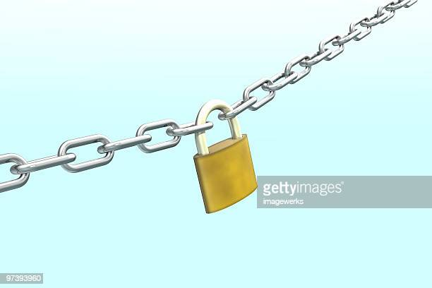 Link chain with lock against blue background, close-up
