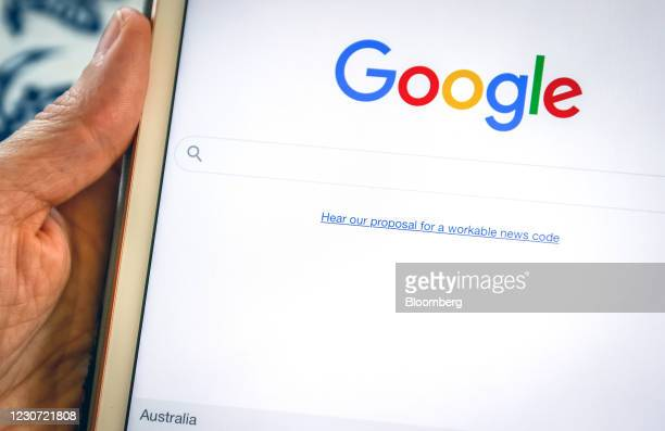 Link to Google's proposal to a workable news code on the company's homepage, arranged on an iPad in Sydney, Australia, on Friday, Jan. 22, 2021....