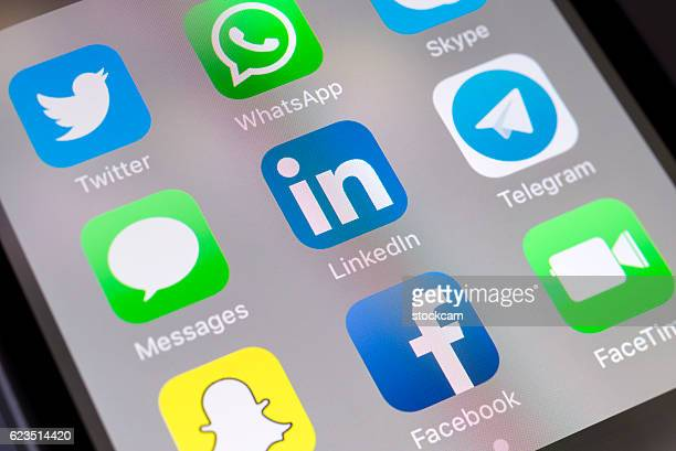 LinkedIn and social media apps on cellphone
