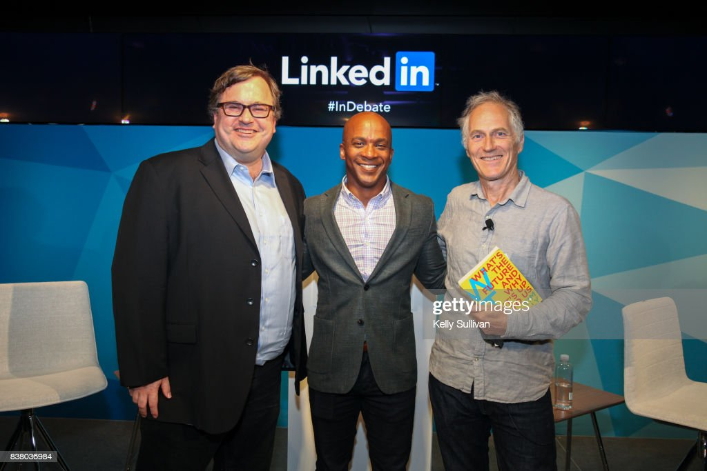 LinkedIn Co-Founder and Greylock Partner Reid Hoffman; Jon Fortt, Co-Anchor of CNBC's Squawk Alley; and Founder & CEO of O'Reilly Media Tim O'Reilly pose for a photo on August 23, 2017 at LinkedIn in San Francisco, California.