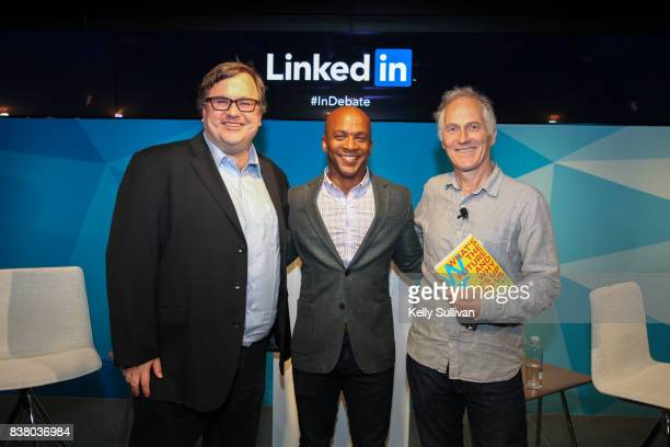 LinkedIn CoFounder and Greylock Partner Reid Hoffman Jon Fortt CoAnchor of CNBC's Squawk Alley and Founder CEO of O'Reilly Media Tim O'Reilly pose...
