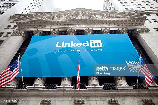 A LinkedIn Corp banner hangs on the front of the New York Stock Exchange in New York US on Thursday May 19 2011 LinkedIn Corp the largest...