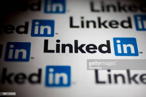LinkedIn Corp logos are arranged for a photograph in Washington DC US on Monday Oct 28 2013 LinkedIn Corp is expected to release earnings figures on...