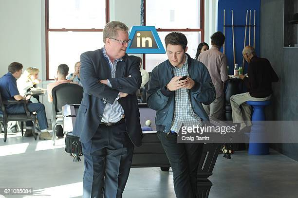 LinkedIn employee and parents appear at LinkedIn Bring In Your Parents Day at LinkedIn on November 4 2016 in New York City