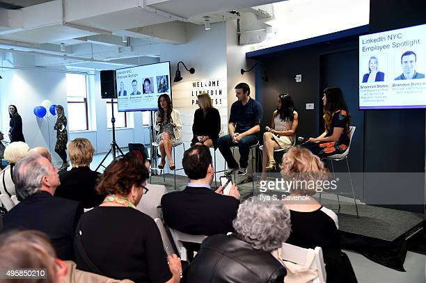 LinkedIn empoyees Shannon Stubo Brandon Duncan Lisa Mesa and Nawal Fakhoury speak with Author Suzy Welch during LinkedIn Bring In Your Parents Day...