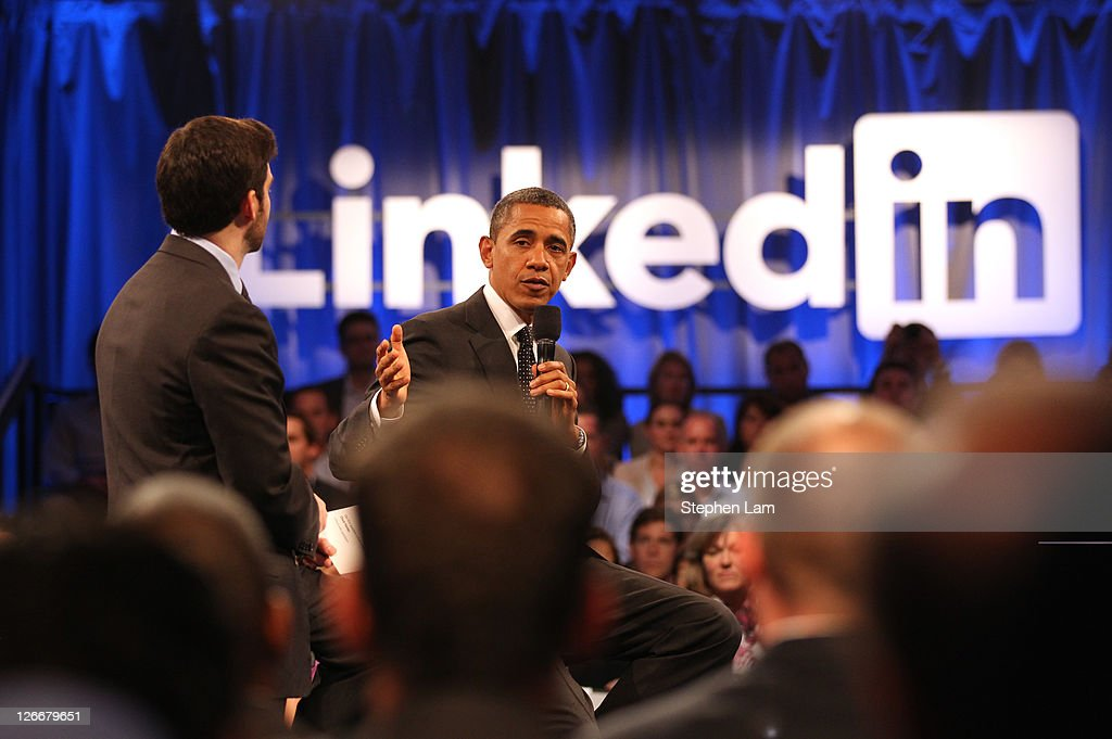 Obama Participates In Linkedin Town Hall : News Photo