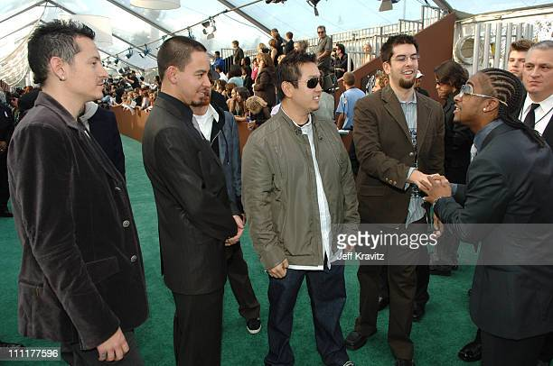 Linkin Park and Omarion during The 48th Annual GRAMMY Awards Green Carpet at Staples Center in Los Angeles California United States