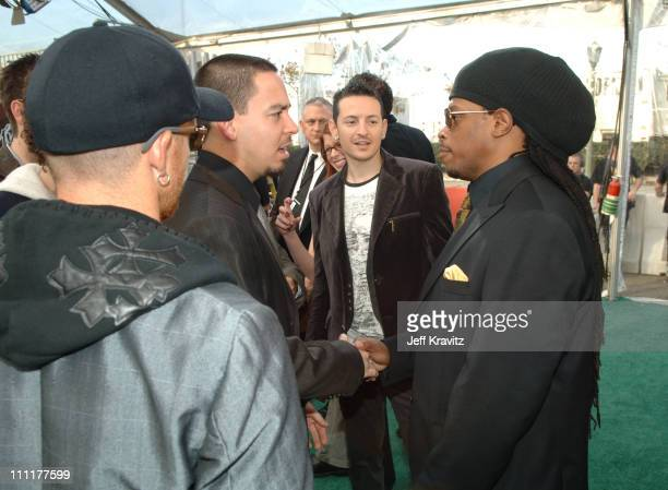 Linkin Park and Sway during The 48th Annual GRAMMY Awards Green Carpet at Staples Center in Los Angeles California United States
