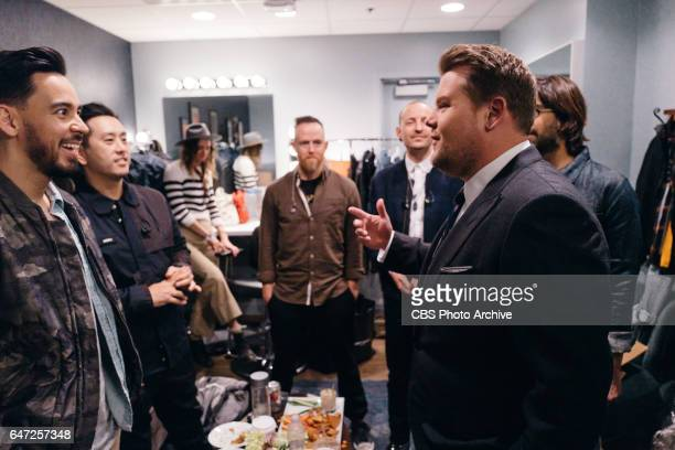 Linkin Park chat in the green room with James Corden during 'The Late Late Show with James Corden' Monday February 27 2017 On The CBS Television...