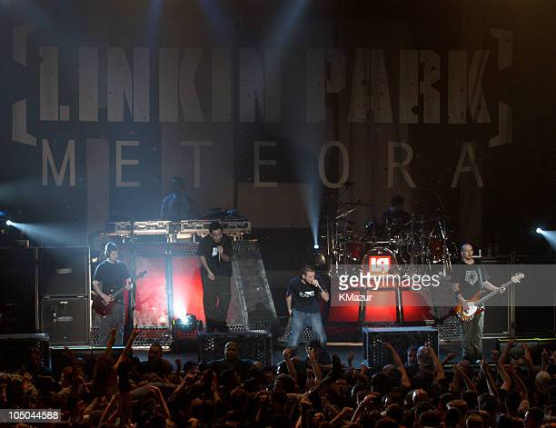 Linkin Park during Linkin Park performs on their 'Meteora World Tour 2003' New York at Roseland Ballroom in New York City New York United States