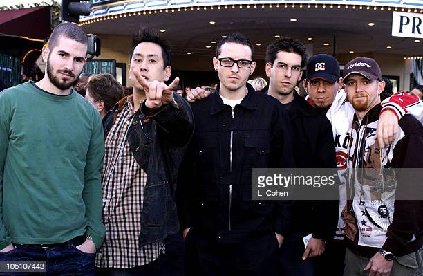 Linkin Park during 'The Matrix Reloaded' Premiere Black Carpet at Mann Village Theater in Westwood California United States