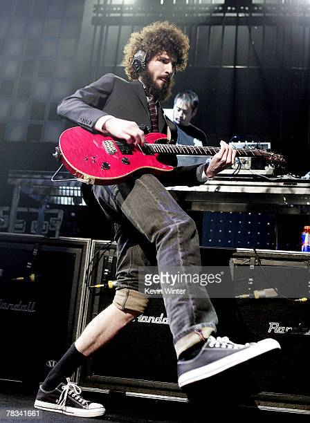 Linkin Park musician Brad Delson performs at KROQ's Almost Acoustic Christmas at the Gibson Amphitheater on December 8, 2007 in Los Angeles,...