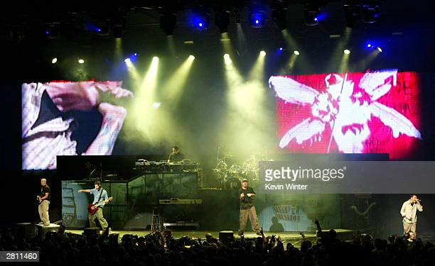Linkin Park perform at KROQ's 2003 Almost Acoustic Christmas at the Universal Amphitheatre on December 14 2003 in Los Angeles California