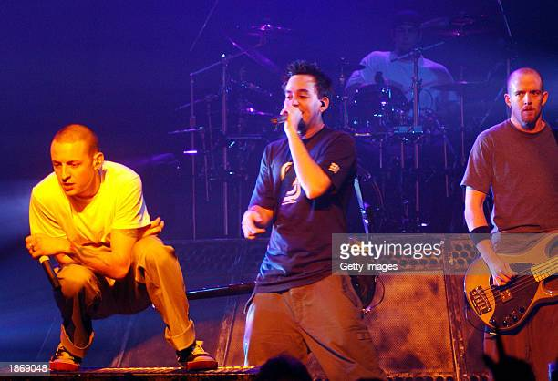 Linkin Park performs at the Warfield Theater on March 23 2003 in San Francisco California