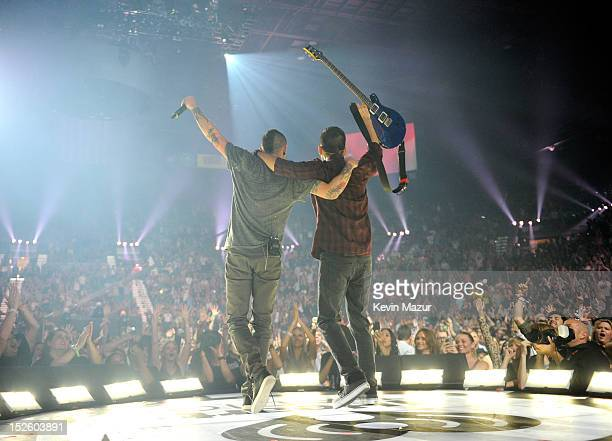 Linkin Park performs onstage during the 2012 iHeartRadio Music Festival at the MGM Grand Garden Arena on September 22 2012 in Las Vegas Nevada