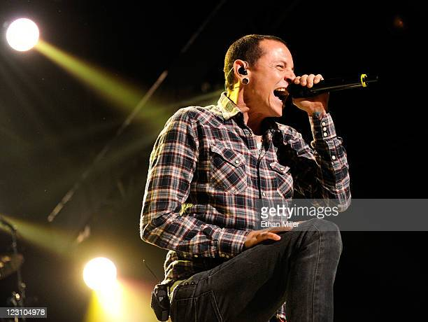 Linkin Park singer Chester Bennington performs at The Joint inside the Hard Rock Hotel Casino August 30 2011 in Las Vegas Nevada