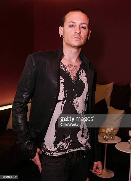 Linkin Park's Chester Bennington attends the launch of Ve'Cel Clothing Line at PURE Nightclub on August 27 2007 in Las Vegas Nevada