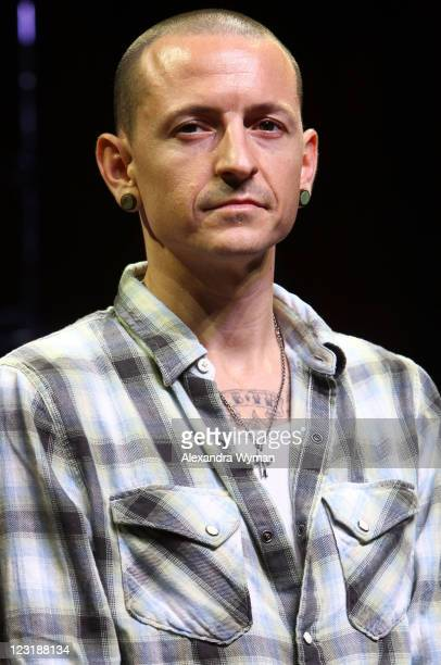 Linkin Park's Singer Chester Bennington at Linkin Park's Tsunami Relief Fundraiser For Japan Press Conference held at The Mayan on August 31 2011 in...