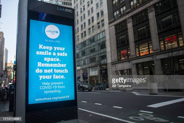 March 21: LinkNYC digital signage kiosk displaying safety messages during the Coronavirus COVID-19 pandemic. March 21, 2020 in New York City.